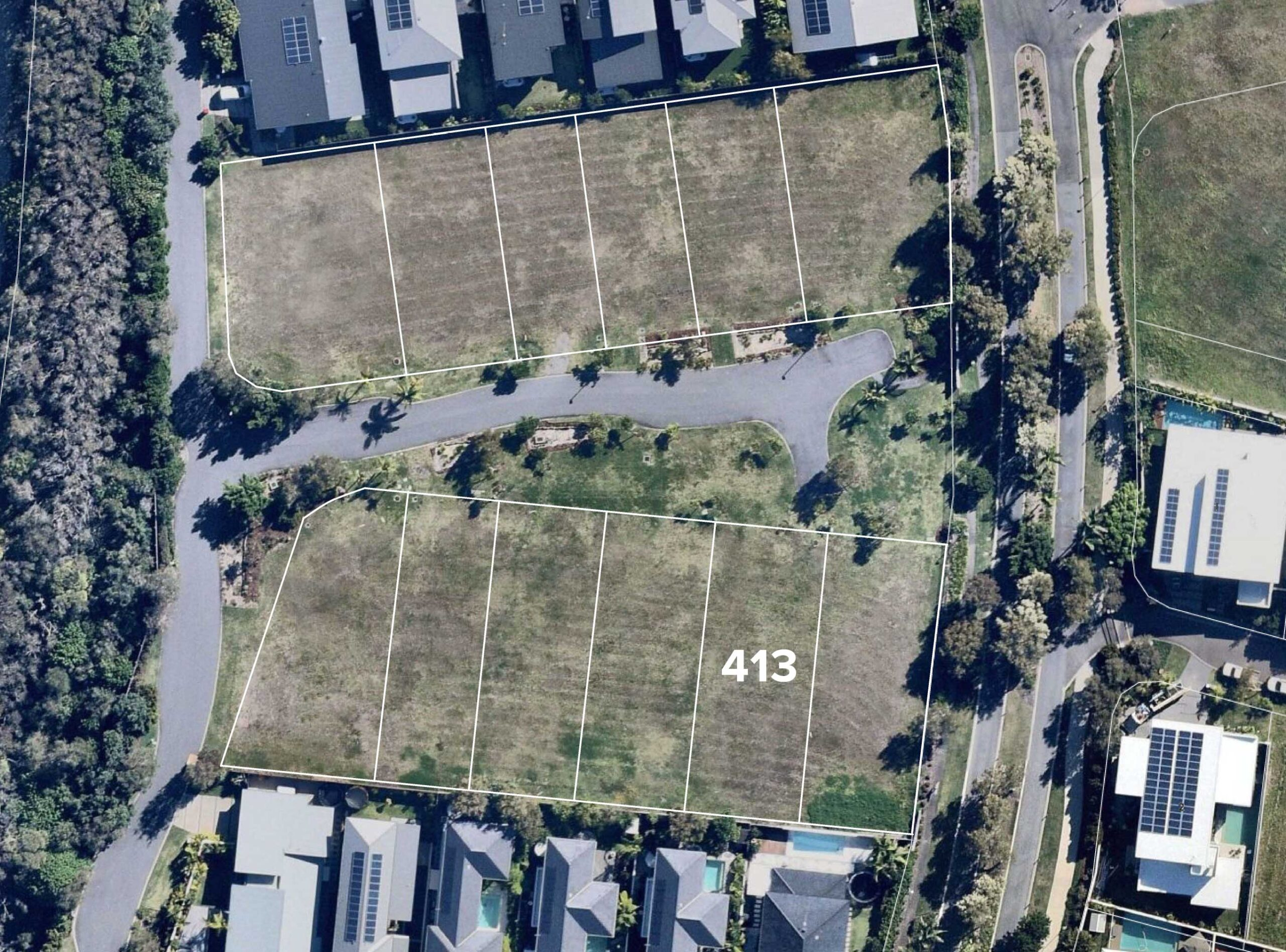 Aerial view of Lot 413
